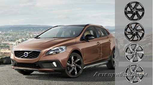 "Volvo V40 CROSS COUNTRY (2012-) ДИСК КОЛЕСНЫЙ R19 ""ALECTO"" Light Grey вставка Raw copper"