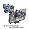 05-07 Ford Mustang Halo Projector Head Lights - Chrome