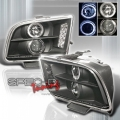 05-07 Ford Mustang Halo Projector Headlights - BLACK