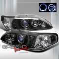 94-98 Ford Mustang 1 Pc Halo Blue Projector Headlights - BLACK