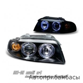 96 01 audi a4 halo 1 piece projector head lights black