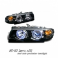95-02 BMW E38 Halo 1 Piece Projector Head Lights - Black