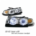 95-02 BMW E38 Halo 1 Piece Projector Head Lights - Chrome